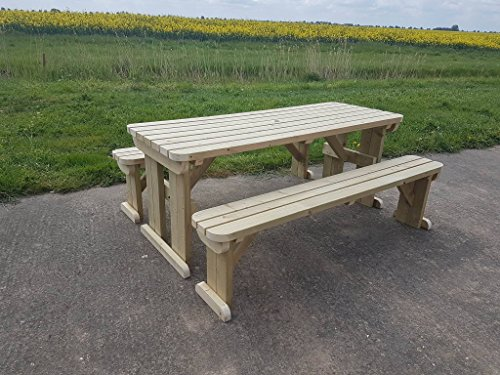 ASPEN Rounded Wooden Garden Picnic Table With Benches - Heavy Duty - Handmade Outdoor Furniture in UK - Pressure Treated - Light Green (Natural) (6FT)