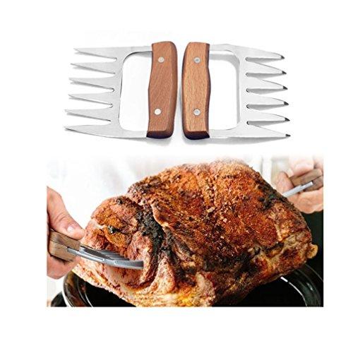 Edelstahl Fleisch Krallen 2 Stck Meat Claws Bbq Grill Party Gabeln Fr Pulled Pork Brenkrallen Mit Holzgriff Bbq Gabeln