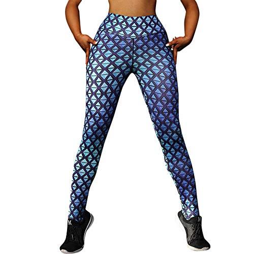 MYMYG Damen drucken Hose Sport Gym Yoga Workout Running Hosen Frauen hohe Taille Yoga Geometric Print Legging Laufsport Hosen Bedruckter Yogahosen High Waist elastische ()