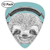 Celluloid Guitar Picks - 12 Pack,Abstract Art Colorful Designs,DJ Sloth Portrait With Headphones Funny Modern Character Cool Cute Smiling,For Bass Electric & Acoustic Guitars.