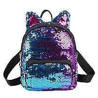 Worthititit Women Backpack & Glitter Girls Sequins Cat Ears Zipper Backpack Mini School Bag Travel Pouch - Navy Blue