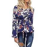 Damen T Shirt,Geili Frauen Damen Mode Blumendruck Langarm V-Ausschnitt T-Shirt OL Hemd Beiläufige Taille Krawatte Tunika Tops Bluse Oberteile Tee