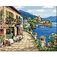 Lakeside cabin-diy Pintura por número Kit Cuadro Al Óleo decorativa regalo único vacaciones de primavera de 16x 20pulgadas sin marco, Without wood frame