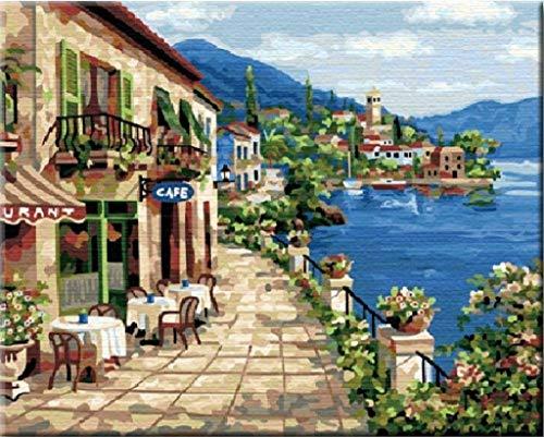 Lakeside cabin-diy Pintura número Kit Cuadro Al Óleo