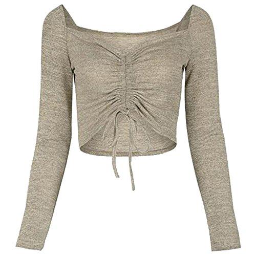 Vertvie Femme Top Crop Bustier Manches Longues Shirt Haut Court Slim Jaune de Gris