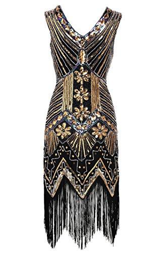 er Kleider voller Pailletten Retro 1920er Jahre Stil V-Ausschnitt Great Gatsby Kostüm Kleid (Größe M / UK12-14 / EU 40-42, Gold) (1920-stil Kleider)