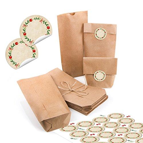 24 kleine braune Papiertüten natur Kraftpapier 10,7 x 22 x 4,2 cm + 24 runde Aufkleber Weihnachten rot grün KRANZ Geschenk Verpackung Mini-Tüte