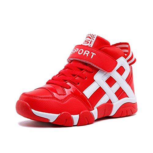 Unisex-Kinder Sneaker Basketballschuhe Klettverschluss Aufzug Abriebfest Rutschfest Sportlich Flexibel Mehrfarbrig Freizeit Kinderschuhe Rot-Weiß 32