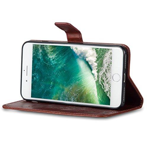Coque iPhone 7 Plus Bleu 3D Papillon Portefeuille Fermoir Magnétique Supporter Flip Téléphone Protection Housse Case Étui Pour Apple iPhone 7 Plus + Deux cadeau dark brown