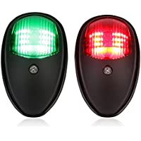 leaningtech 2pcs Barco Marine LED luces de navegación marina Navegación lámpara, 12–24V rojo y verde LED para barco pontón barco Skeeter, Negro