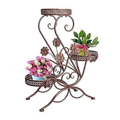 Metall Blumentreppe Blumen Regale Pflanzenständer 66cm mit 3 Körbe Hocker Blumenhocker Regal von Dazon bei Du und dein Garten