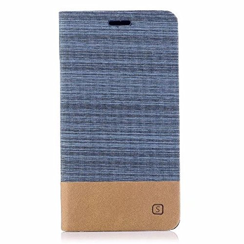 EKINHUI Case Cover Gemischte Farben Segeltuch Jeans Tuch Textur PU Leder weich TPU Rückseitige Abdeckung mit Kickstand und Kartensteckplätzen für Asus ZenFone 4 MAX ZC554KL ( Color : White ) Blue