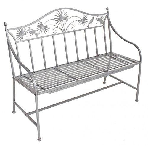 nxtbuy Gartenbank TALIN aus pulverbeschichtetem Eisen in Silber 2-Sitzer mit modernen edlen Verzierungen