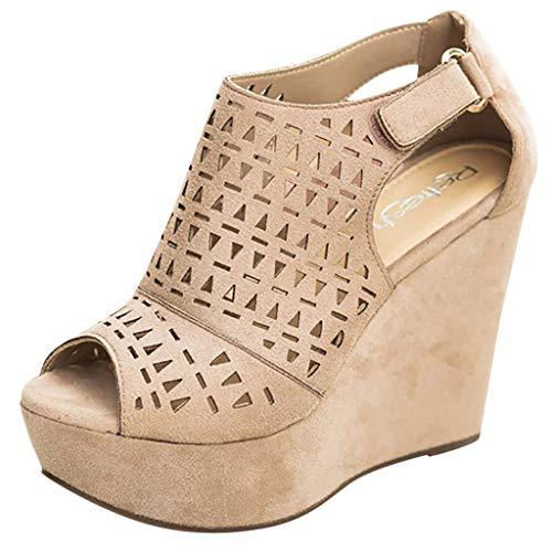 Lady Beach Sommer Casual Sandalen Mode Retro Womens Hollow Strap Buckle Wedges dicken Boden römische Schuhe Sandalen (8 Strap Hollow)