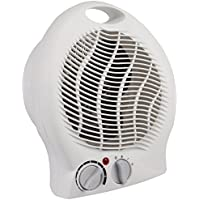 MP Essentials White Small Quiet Portable 2Kw 2000W Electric Upright Fan Heater