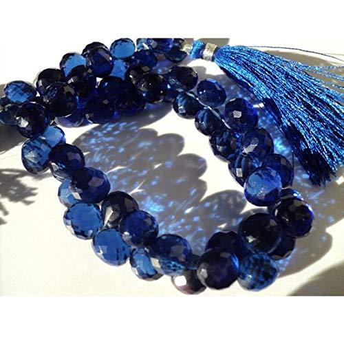 GEMS-WORLD BEADS GEMSTONE Mystic Quartz, 9 Inches Full Strand, Cobalt Blue, Micro Faceted Onion Briolettes, 9x9mm Beads Cobalt Blue Plain