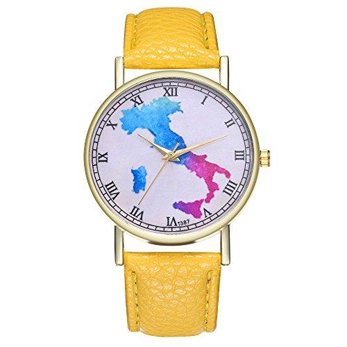 blueqier Landkarte Italien mit Leder-Kartografie women-yellow und in der Armbanduhr für Herren