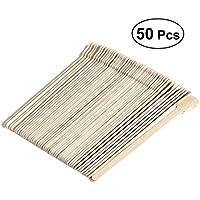 Frcolor Depresor de lengua de madera desechables espátulas palillo de cera (color de madera original), 50pcs