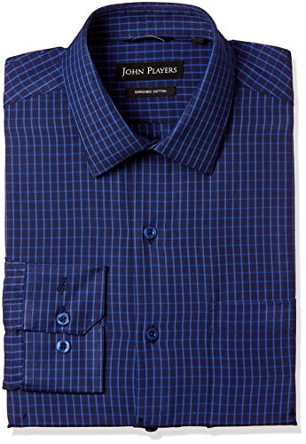 John Players Men's Solid Loose Fit Cotton Formal Shirt (JFMWSHA170005004_Imperial Purple_42)