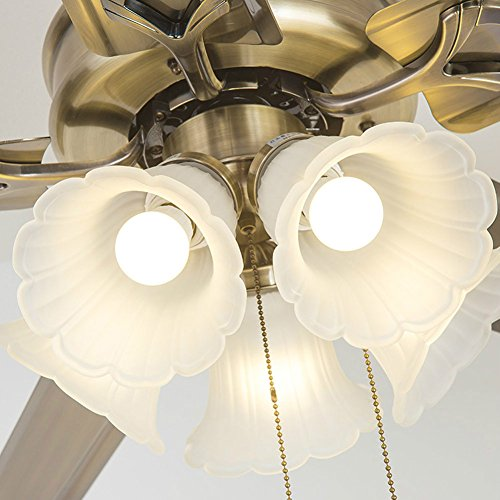 SAEJJ-Ventilatore a soffitto ferro retrò europeo Festival delle luci ventola silenziosa, velocità di tiro della corda,42 pollici