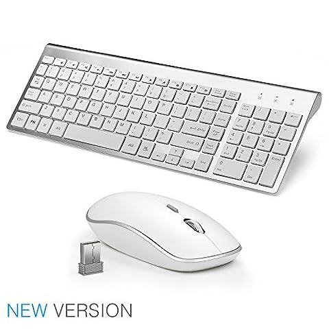 joyaccess Wireless Tastaturen Combo Fl¨¹sterleise Kompakte Tastaturen und Maus Combo f¨¹r Desktop-silver Silberfarben/Wei? keyboard and mouse (QWERTY-Layout (UK))