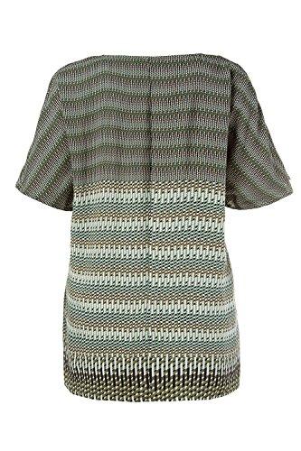 Ulla Popken Femme Grandes Tailles | Top Rayures Imprimées Manches Courtes Femme 712062 olive chiné