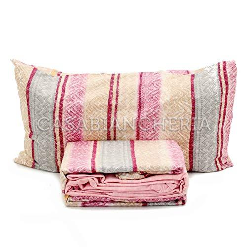 Lenzuolo wolly rosa flanella matrimoniale (sopra lenzuolo 240x290 +1 sottolenzuolo 175x200 +2 federa)