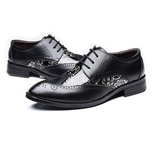 Calzado Liso para Hombres Zapatos con Cordones Brogue Mocasines Wingtip Hueco Talla Empalme PU Cuero...