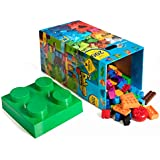 Smart Builder 200 Piece All In One Box Deluxe Tower Set - Over 40 Different Shapes - Includes A Special Sorting Lid - Duplo Compatible