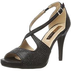 XTI Damen Black Metallic Textile Ladies Shoes Pumps Schwarz (Black), 40 EU
