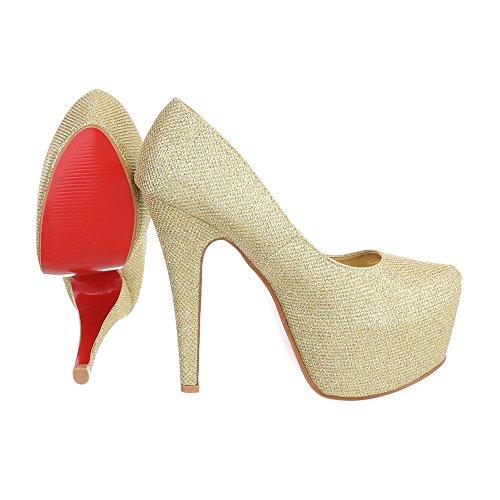 High Heel Pumps Damenschuhe High Heel Pumps Pfennig-/Stilettoabsatz High Heels Ital-Design Pumps Gold B443S-WT