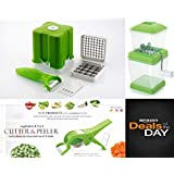 COMBO - VEGETABLE CUTTER - FRENCH FRIES CUTTER - ONION CHOPPER - PURE STAINLESS BLADES, HIGH QUALITY POLY-CARBONATE UNBREAKABLE BODY AND MADE UP OF PURE VIRGIN PLASTICS - BEST KITCHEN TOOLS ALL TOGETHER - PROUDLY MAKE IN INDIA