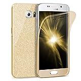 Zhinkarts Handy Hülle für Samsung Galaxy S6 Edge - Full Body 360 Grad TPU Silikon Crystal Case - Komplett Schutzhülle Cover in Gold Clear/Rückseite Glitzer