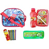 Majik Combo Of School Bag, Pencil Box And Water Bottle, Sketch Coloured Pens For Boys And Girls, Multicolour, 150 Gram, 5 Pcs Pack Of 1 (Boys)