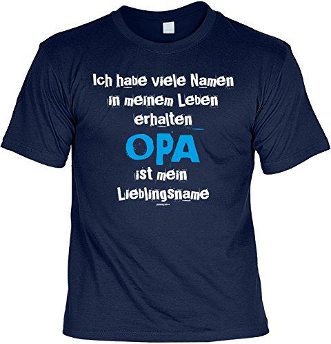 T-Shirt - Ich habe viele Namen - Opa ist mein Lieblingsname - cooles Shirt mit lustigem Spruch als Geschenk zum Vatertag Navyblau