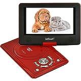 """ieGeek 12.5"""" Reproductor de DVD MP3 CD Multimedia Video Portátil (Batería interna , 2500mAh, USB, SD) con cargador de coche y joystick de juego, rojo"""