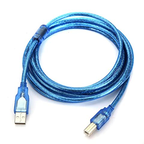 TOOGOO(R)Bleu USB 2.0 3m Scanner A / B Imprimante Cable de donnees Pour HP Canon Epson Dell PC