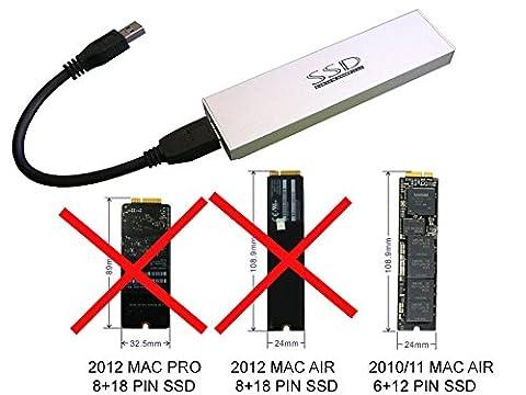 Kalea Informatique© - Gehäuse für SSD MacBook Air 2010/2011auf USB3(USB 3.0SuperSpeed)–Für SSD von MAC in 6+ 12Pin (Macbook Air Ssd)