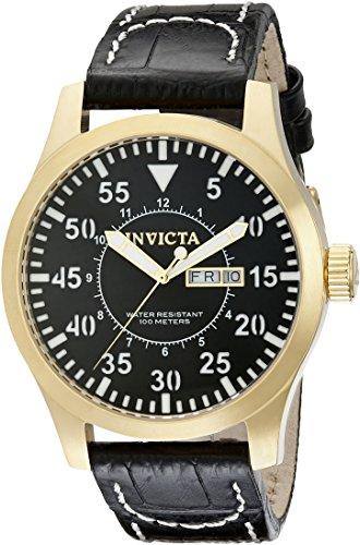 Invicta Men's 48mm Black Leather Band Steel Case S. Sapphire Quartz Analog Watch 11190