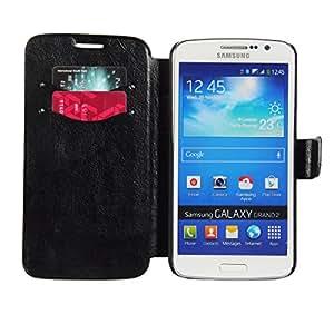 Galaxy Grand 2 Case, Samsung Galaxy Grand 2 Case, HOKO® Slim Leather wallet book Case Flip Cover for Samsung Galaxy Grand 2 (Black)