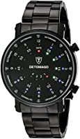 DeTomaso Men's Quartz Watch Spacy Timeline Rund Schwarz G-30730B with Metal Strap