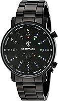 DeTomaso Men's Quartz Watch Spacy Timeline Rund Schwarz G-30730B with Metal Strap