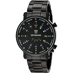 Detomaso Spacy Timeline 2 - Reloj de cuarzo para hombres, con correa de acero inoxidable de color negro, esfera negra