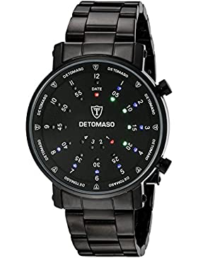 DETOMASO Herrenuhr Quarz Edelstahlgehäuse Edelstahlarmband Mineralglas SPACY TIMELINE 2 Binär Trend schwarz/schwarz...