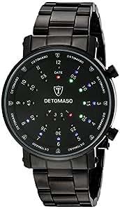 DETOMASO Herrenuhr Quarz Edelstahlgehäuse Edelstahlarmband Mineralglas SPACY TIMELINE 2 Binär Trend schwarz/schwarz G-30730B
