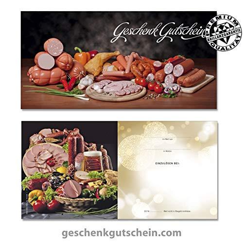 """50 Stk. Premium Geschenkgutscheine Gutscheinkarten """"DIN lang"""" Vorderseite hochglänzend für Metzger, Fleischer, Feinkost M9704, LIEFERZEIT 2 bis 4 Werktage"""