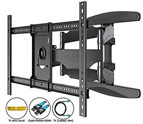 Invision® Ultra Strong TV Wall Bracket Mount - For 37 - 70 Inch LED LCD Plasma & Curved Screens – Double Arm Tilt Swivel Feature – Includes 1080p HDMI Cable & Spirit Level *Please Confirm Your TV VESA Mounting Holes Before Purchase*