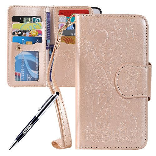 JAWSEU iPhone 6S Plus Custodia in Pelle Portafoglio, Cover iPhone 6 Plus, Lusso 3D Modello Goffratura Arts Lusso PU Leather Folio Case per iPhone 6/6S Plus Custodia Cover con Gel Silicone Interno Case Donna e gatto, Oro