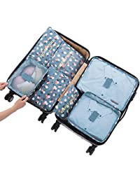 7 Sets Packing Cubes Travel Organizers Luggage Compression Pouches