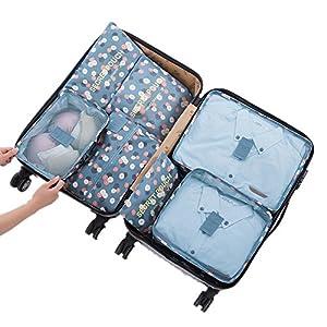 viajes: 7 Set de Organizador de Equipaje, Impermeable Organizador de Maleta Bolsa para R...
